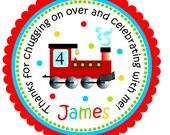 Choo Choo Train Stickers, Personalized Labels, Train Gift Tags, Choo Choo Train Birthday Party - Set of 12