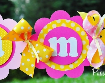 Happy Birthday Banner in Hot Pink, Light Pink and Yellow, Deluxe Birthday Banner