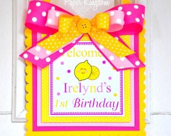 Pink Lemonade Door Sign, Welcome Door Hanger, Pink Lemonade Party
