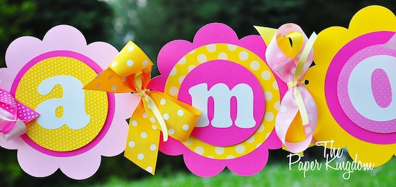 Happy Birthday Banner in Hot Pink, Light Pink and Yellow, Birthday Party Banner