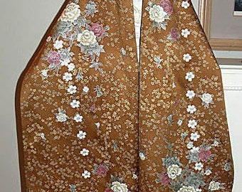 Silk Kimono Fabric Shawl/Wrap/Scarf..Long Island Bridal/Wedding Gift..Cherry Blossom..Chrysanthemum..Golden Brown..Clutch available