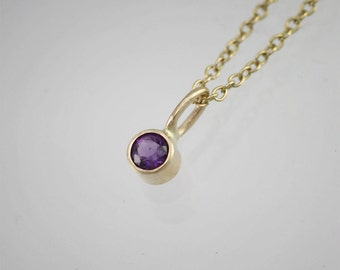 """Amethyst Drop Necklace in 14k Yellow Gold (16"""")"""