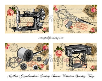 Grandmother's Sewing Room Victorian Sewing Tags Digital Collage Sheet C-403  for Scrapbooking, Journals, Tags Two Sheets ECS