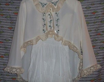 Blouse Embroidery & Vintage Cotton Lace Cropped Hi Low Romantic Upcyled Dress Up Shirt
