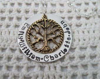 Mothers Day Presale Mothers Tree of Life  Mommy Mother Grandma Nanna Necklace with  Four Names  and up tp 36 Inch Sterling Silver Chain