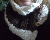 Chocolate Vanilla Neck Warmer Chunky Cowl with wood Accent Button closure  in dark brown and white