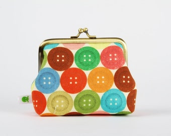 Deep dad - Colorful buttons - metal frame purse