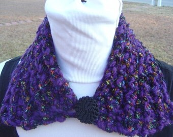 Purple Black with Flecks of Bright Colors Scarflette or Collar - OOAK MWL by an EtsyMom