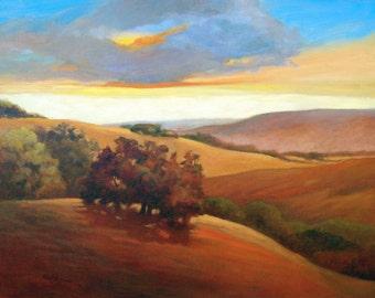 California Coast Hills, Summer Hills, Coast Range, Rolling Hills, ArtPrint, Impressionist Art, Warm Colors, Coastal Fog, 8 x 10, Limited Ed.