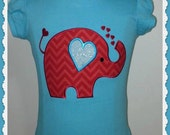 Embroidered Shirt Elephant Applique tee or onesie Personalized Birthday