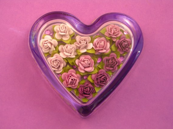 Purple Rose Floral Glass Heart Paperweight Home Decor June Birthday