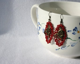 Filigree EARRINGS - Diamond Daisy - Cherry Red - Heart - Valentines Day - Free Standing Lace Embroidery