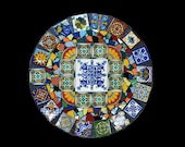 16  Inch Mosaic Lazy Susan Made with Talavera Tiles Ready to Ship