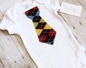 Baby Boy Tie Bodysuit Onesie Brown Argyle Tie short Sleeve