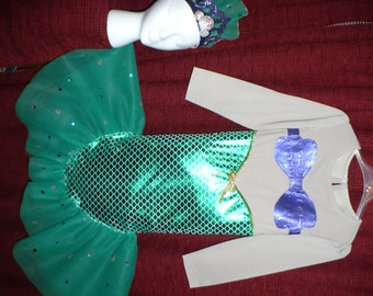 Mermaid Costume, Disney Princess Ariel inspired, size 6/8, with crown and red hair braid