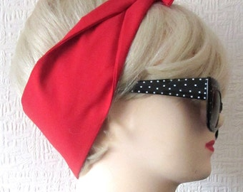 Red Hair Tie Fabric Head Scarf by Dolly Cool Plain Rockabilly 50s