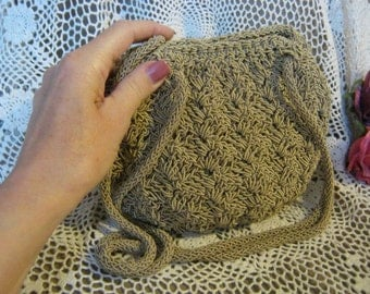 Vintage small sand color woven fiber bag natural color pouchy bag with double straps, small light taupe crochet shoulder bag