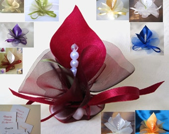 bomboniiera  handmade wedding favors calla lily crystal burgundy or custom color