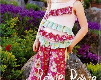 Rosie Posie ruffle pant & top pattern (PFP021) - Pink Fig
