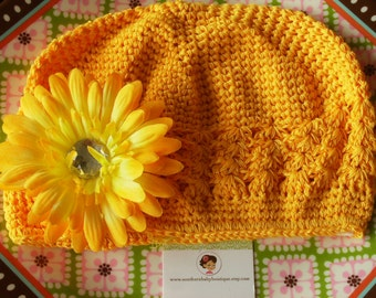 SUPER SALE---Boutique Girl Cap with Jeweled Daisy Clip----Sunshine Yellow---LIMITED Time Only