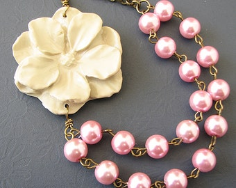 Flower Necklace Bridesmaid Jewelry Pink Necklace Ivory Jewelry Multi Strand Statement Necklace