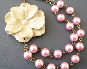 Flower Necklace Bridesmaid Jewelry Pink Necklace Ivory Jewelry Double Strand Beadwork