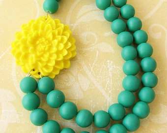Statement Necklace Beaded Necklace Flower Necklace Green Jewelry Bib Green Necklace Yellow Jewelry Bridesmaid Gift