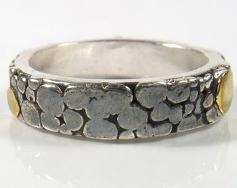 22k gold dots on silver oxidized band- Raindrop band.Engagement or wedding band. Handmade sterling and solid 22 k gold. Organic silver ring.