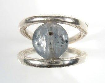 Silver open ring set with pearl or stone- Connection ring.