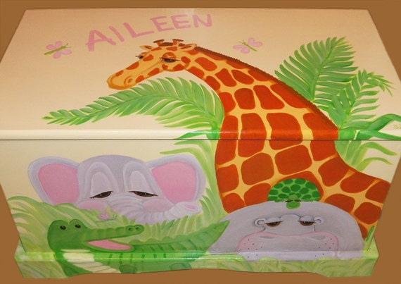Jungle toy chest custom designed with a soft yellow background for Personalized kids soft chairs