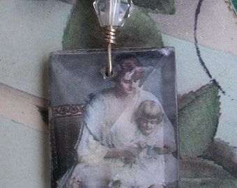 The Knitting Lesson - Vintage Assemblage Necklace - with Vintage Chandelier Crystal