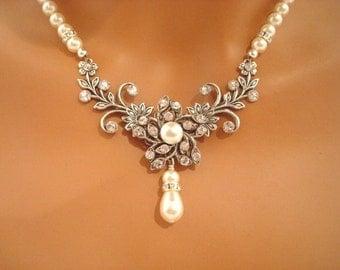 Wedding necklace, Pearl necklace, Wedding jewelry, Crystal necklace, Statement necklace, Bridal necklace, Rose Gold necklace, Rhinestone AVA