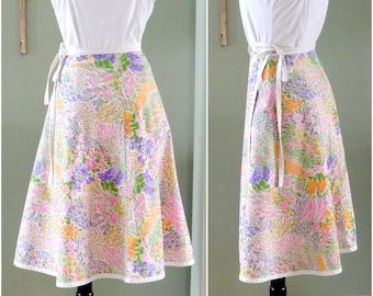 Vintage Wrap Skirt, Pink 1970s Reversible Cotton Floral Wrap Skirt, Spring Floral Print Skirt with Tie Closure Size S
