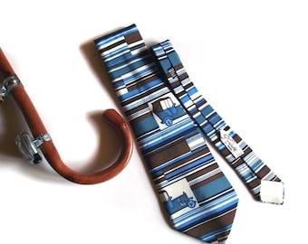 Antique Car Tie Gaucaldi Necktie Vintage 70s Silk Tie Automotive Souvenir