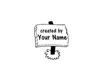 Handle Mounted or Cling Personalized Name custom made rubber stamps C28