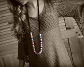 Color Block Crochet Necklace - Long or Short - Hypoallergenic Fiber Jewelry