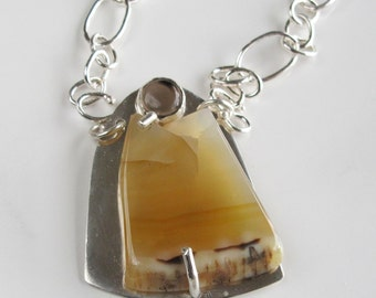 Golden Agate Statement Necklace: with Quartz on Handcrafted Sterling Chain