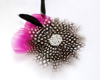 Black and White and Fuchsia Flower Hair Fascinator Peacock Hairclip - Made to Order