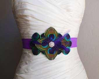 WINDSOR - Peacock Belt Bridal Sash in Peacock and Purple