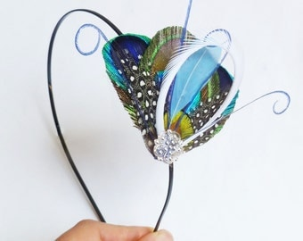 ATLANTIS MINI  Headband - Fantastical Peacock Feather Peacock Headband  - Light Blue