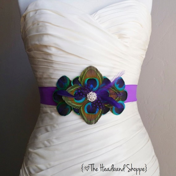 Windsor peacock belt bridal sash in peacock and purple for Peacock wedding dress sash