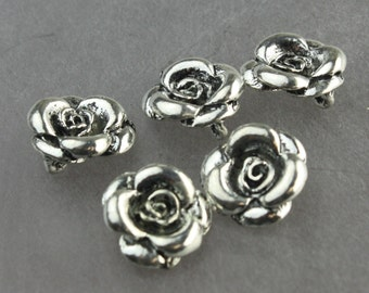 10 pcs of Antique Silver Rosebud Charms Rose Charms Rose Bud Flower Charms Pewter Silver Charms