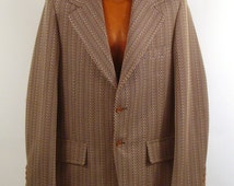 Polyester Jacket Coat Vintage 1970s  Brown Men's Blazer Seventies