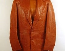Leather Jacket Coat Vintage 1970s  Brown Men's  40