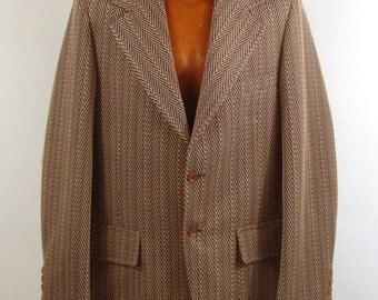 Polyester Jacket Coat Vintage 1970s  Brown Men's Blazer Seventies