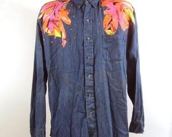 Men's Denim Shirt Vintage 1980s Chambray Neon Button Down Shirt  L