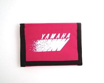 Yamaha Velcro Wallet Vintage 80s 1980s Pink Magenta Motorcycle Print