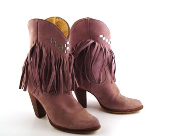 Zodiac Leather Boots Vintage 1970s Purple Fringe Stacked Heel Slouch Women's size  6