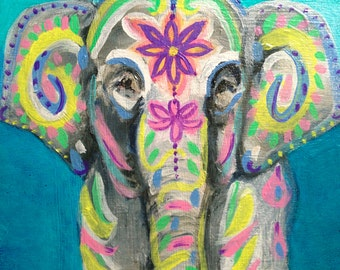 Indian Elephant Original Oil Painting