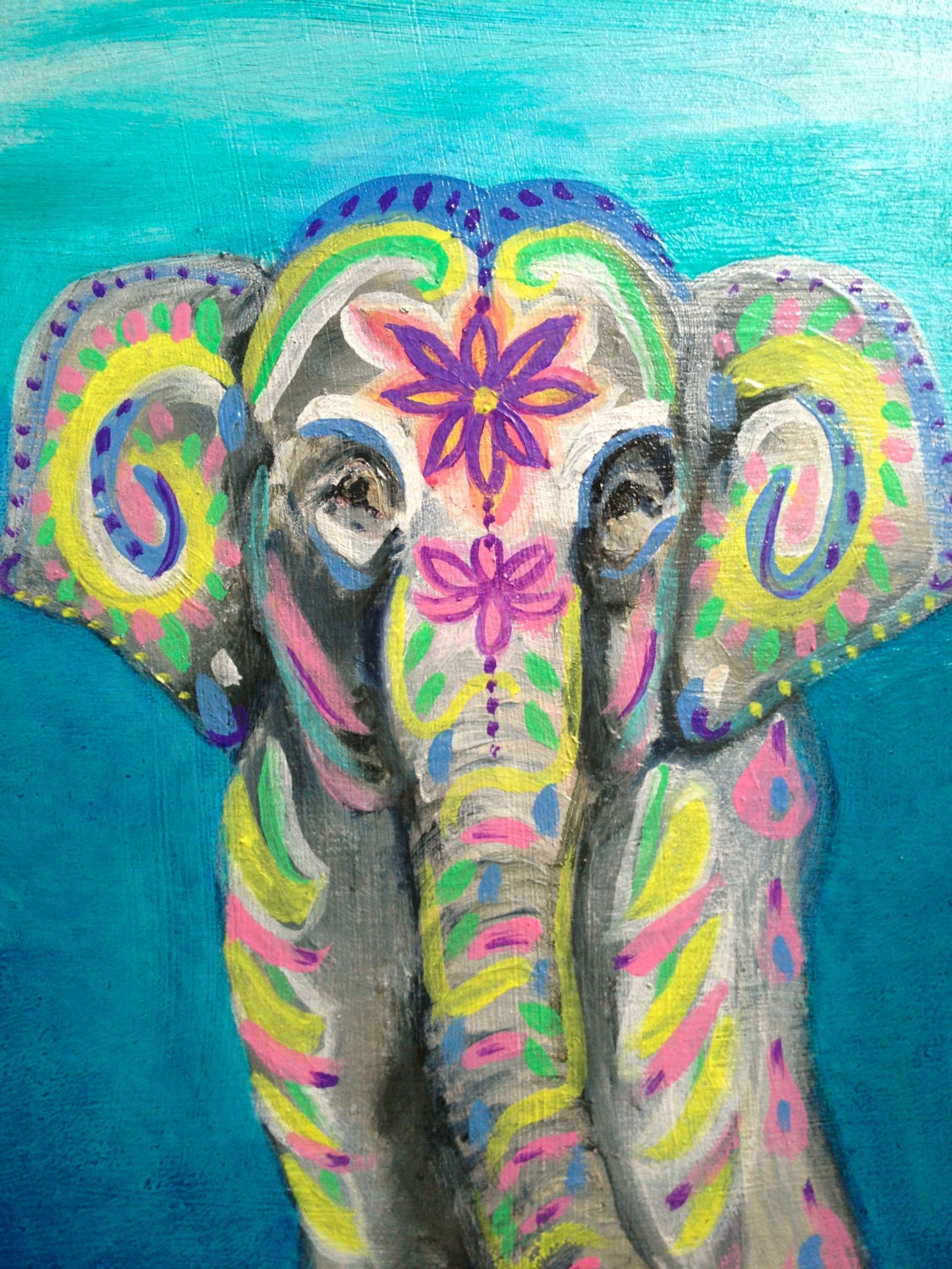 Indian elephant original oil painting for Airbrushing mural